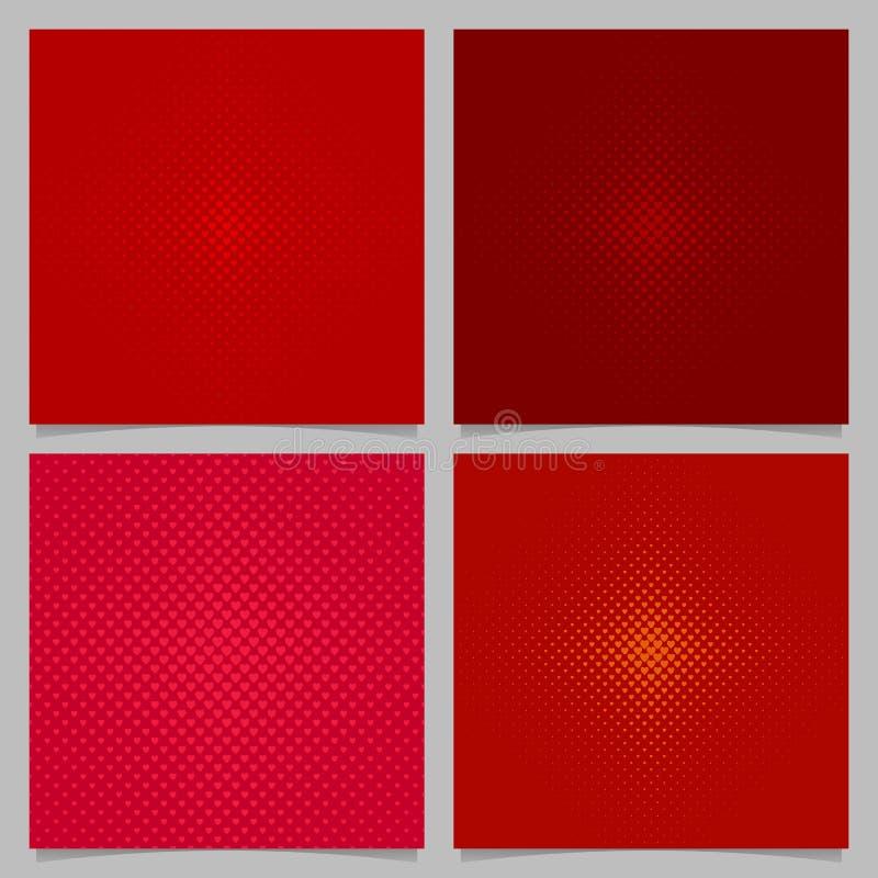 Red halftone heart pattern background set royalty free illustration