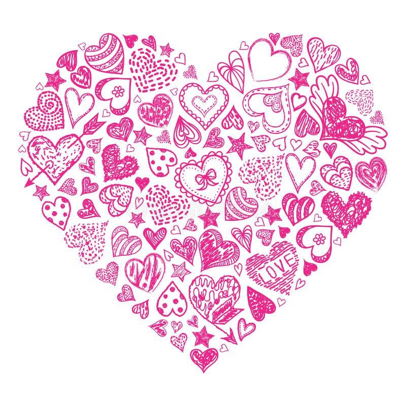 Red hand drawn heart vector illustration