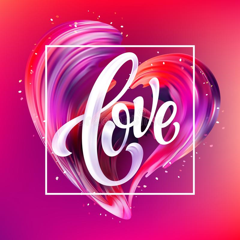 Red hand drawn smear of paint LOVE lettering for card, poster, flyer. Vector illustration vector illustration