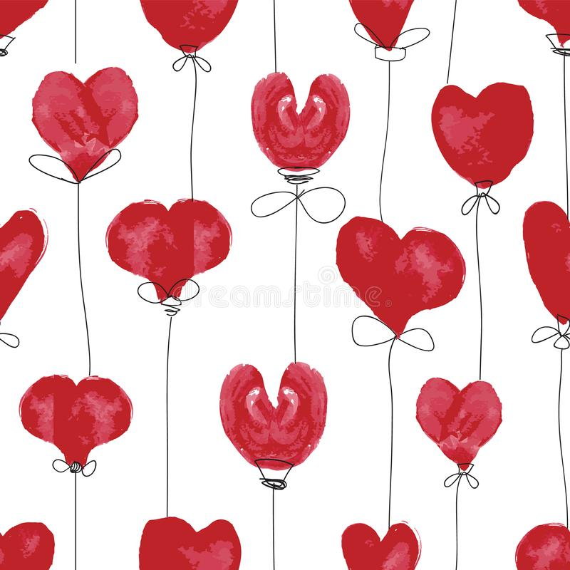 Red hand drawn watercolor and black ink heart balloons on white background. Seamless vector pattern stock illustration