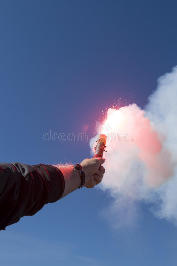 Download Red Hand Flare, Distress Signal Stock Photo - Image of flare, smoke: 29207690