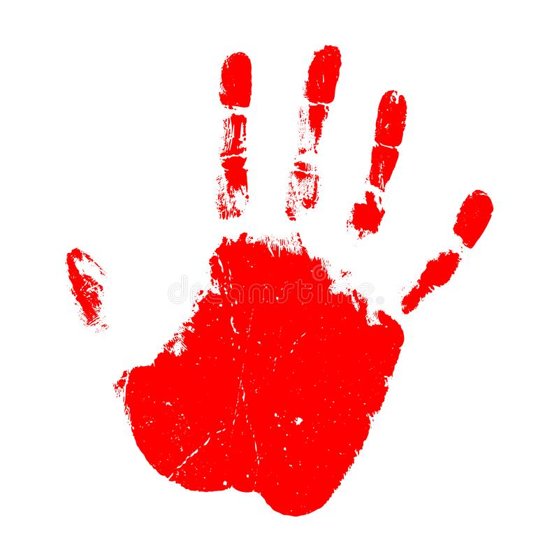 Red hand print vector icon royalty free illustration