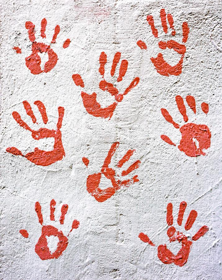 Hand print. Red hand print on wall royalty free stock photos