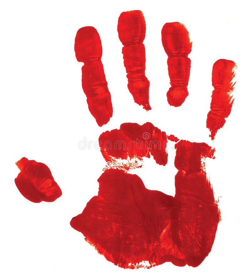 Red hand print on white background stock photo