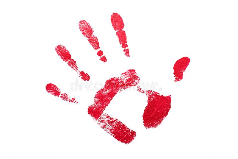 Red hand print on white isolated stock photo