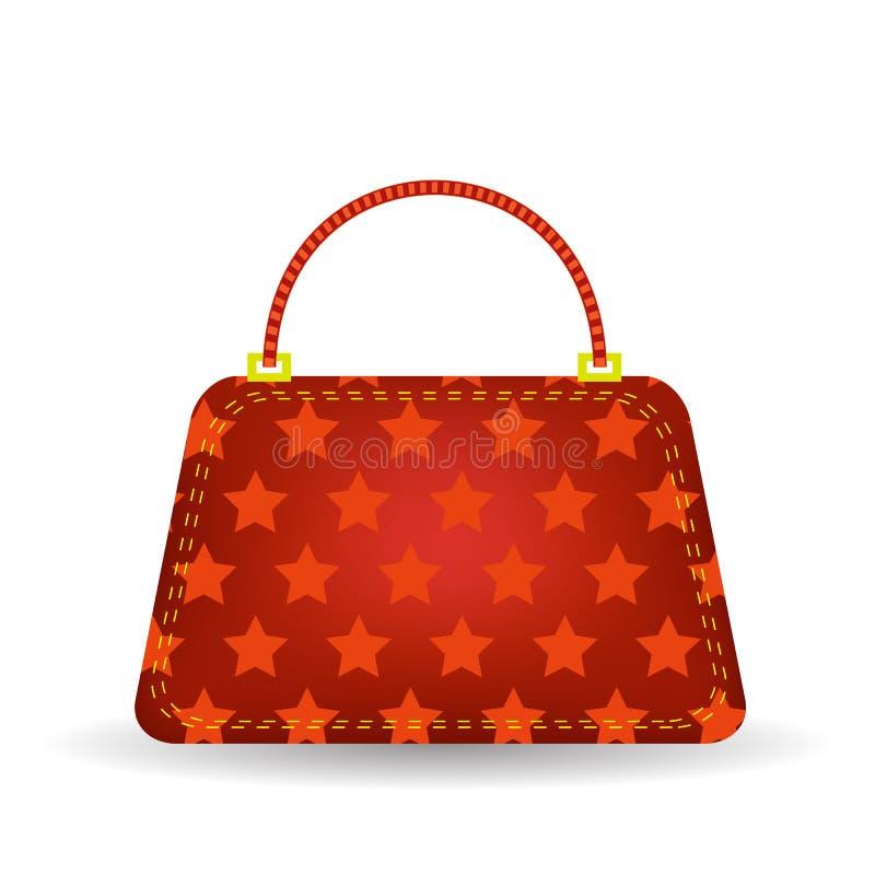 Red Handbag. Single Starry Red Handbag on White Background royalty free illustration