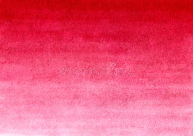 Red handmade painted watercolor gradient background on textured paper stock photos
