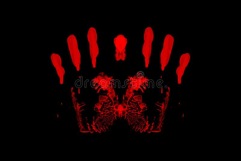 Red handprint isolated on black background royalty free stock images