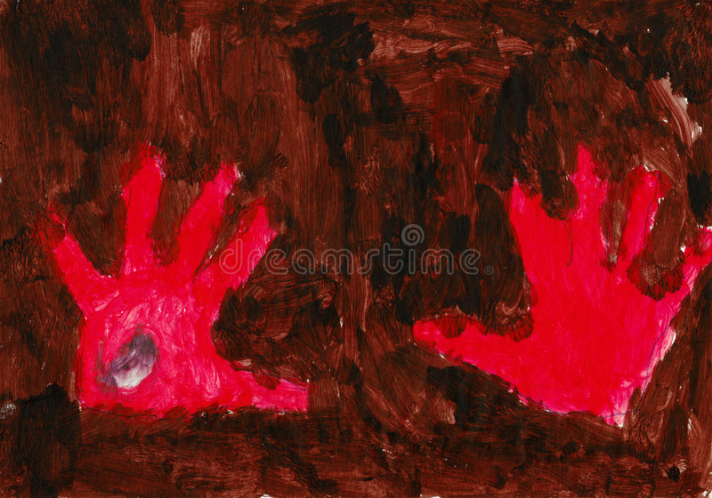 Red hands on the brown background