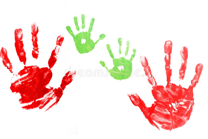 Red hands child printed royalty free stock photo