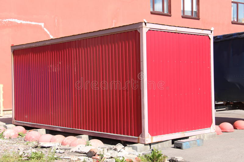Red hangar. Closed red hangar for storage stock images