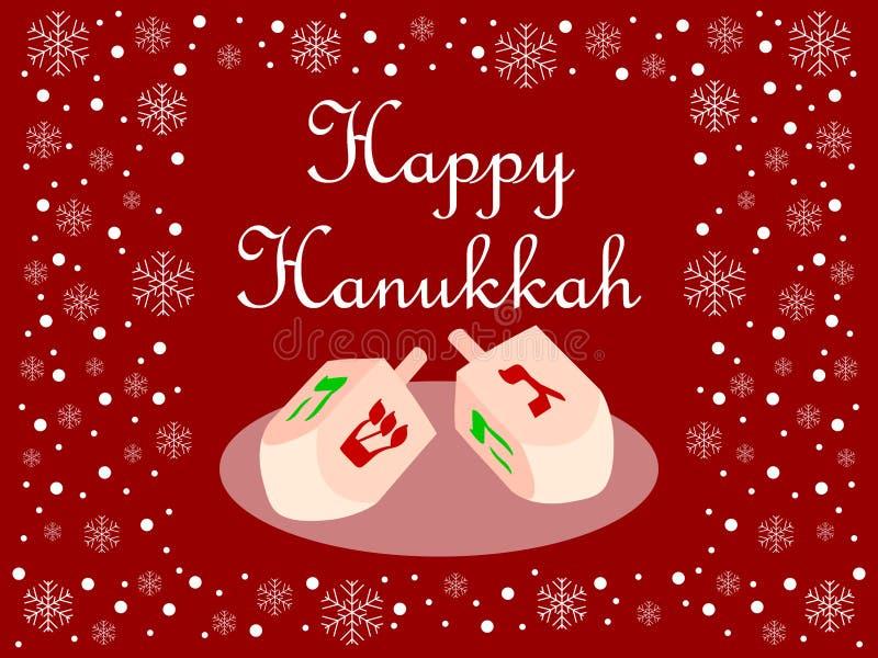 Red Happy Hanukkah Card royalty free illustration