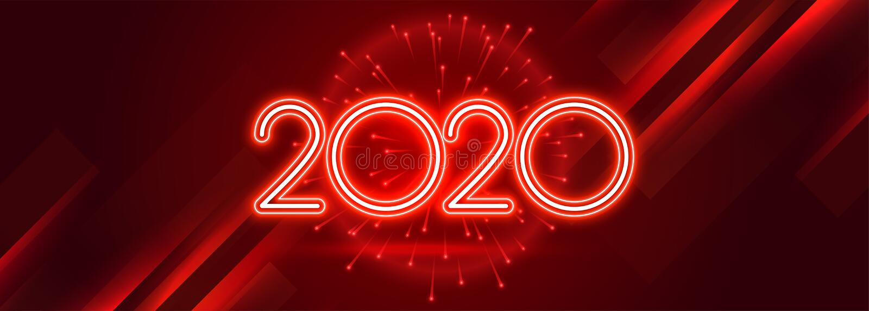 Red 2020 happy new year celebration shiny banner royalty free illustration