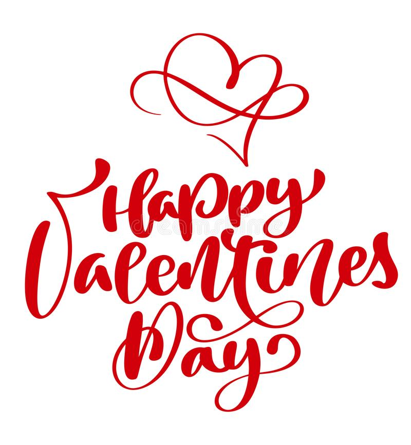 Red Happy Valentines Day typography poster with handwritten calligraphy text, isolated on white background. Vector. Illustration stock illustration