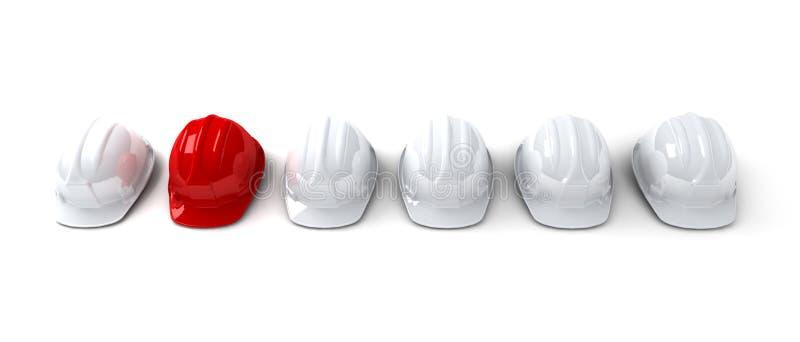 Red hardhat among white ones vector illustration