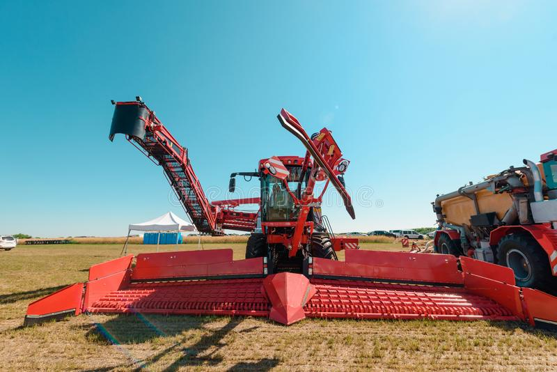 Red harvester on exhibition royalty free stock image