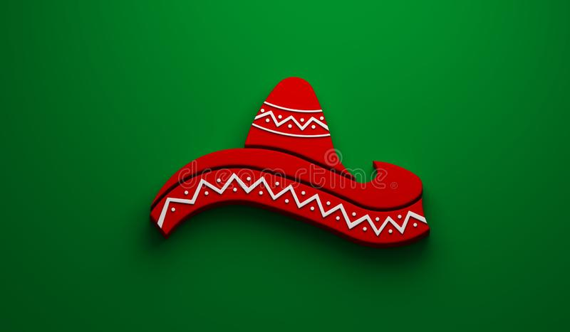 Mexican Hat- Cinco de Mayo Celebration. 3D Render Illustration. Red Hat in Green Background Illustration stock illustration