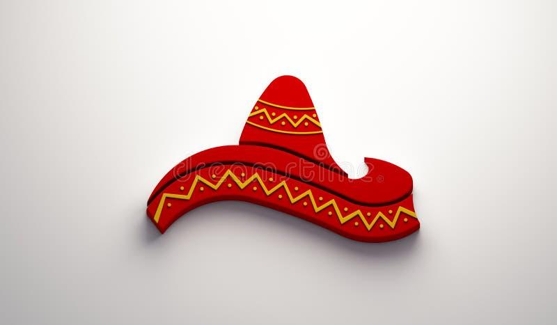 Mexican Hat- Cinco de Mayo Celebration. 3D Render Illustration. Red Hat in White Background Illustration royalty free illustration