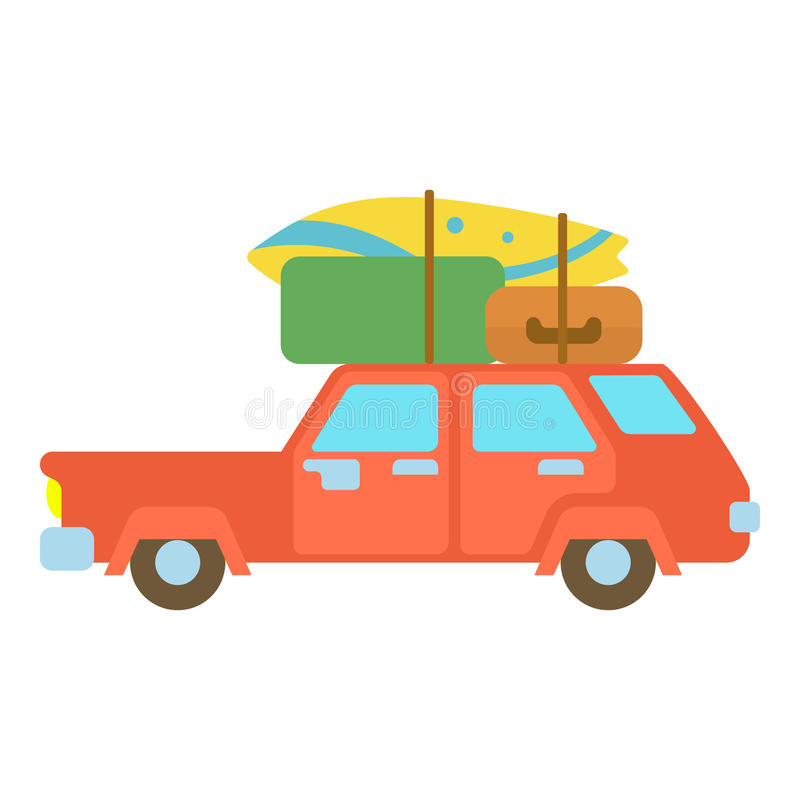 Red hatchback car with cargo luggage icon. Red hatchback car with roof rack top cargo luggage icon. Cartoon illustration of hatchback vector icon for web vector illustration