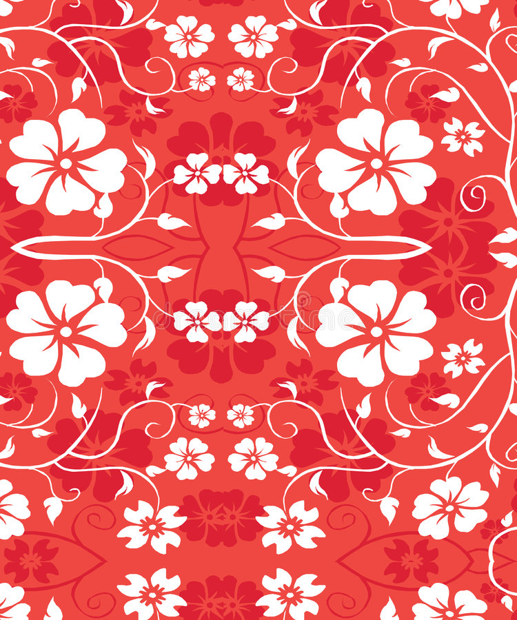 Red Hawiian Floral Seamless Pattern - Vines royalty free stock images