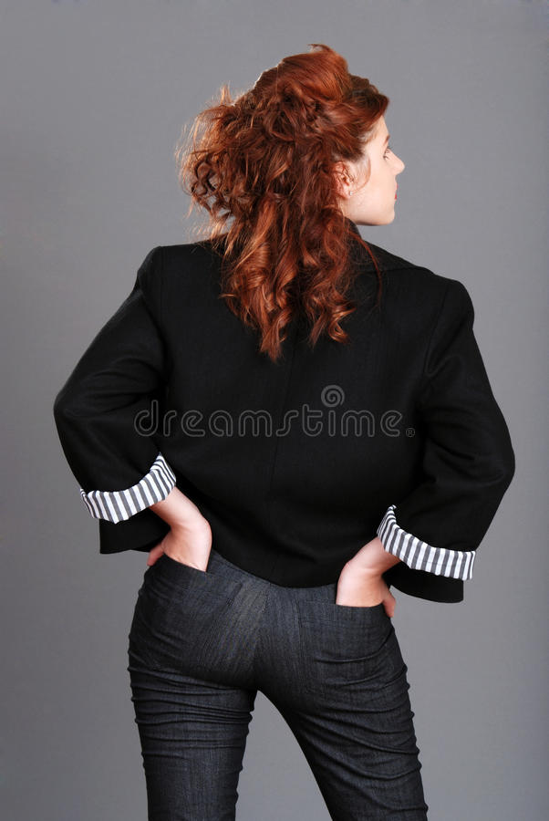 Free Red Head Woman With Hands In Back Pockets Royalty Free Stock Photo - 14270715