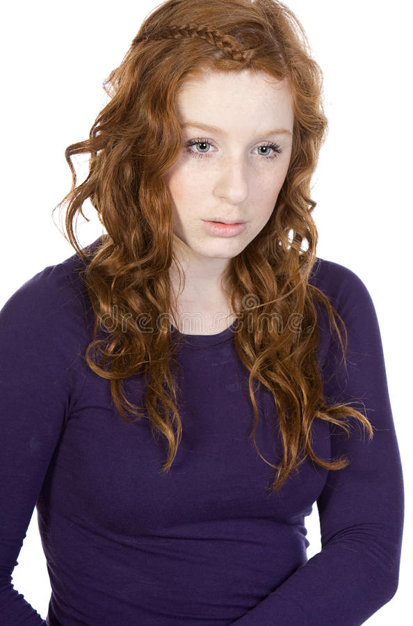 Download Red Headed Teen Looking Sad Against White Stock Photo - Image: 9677540