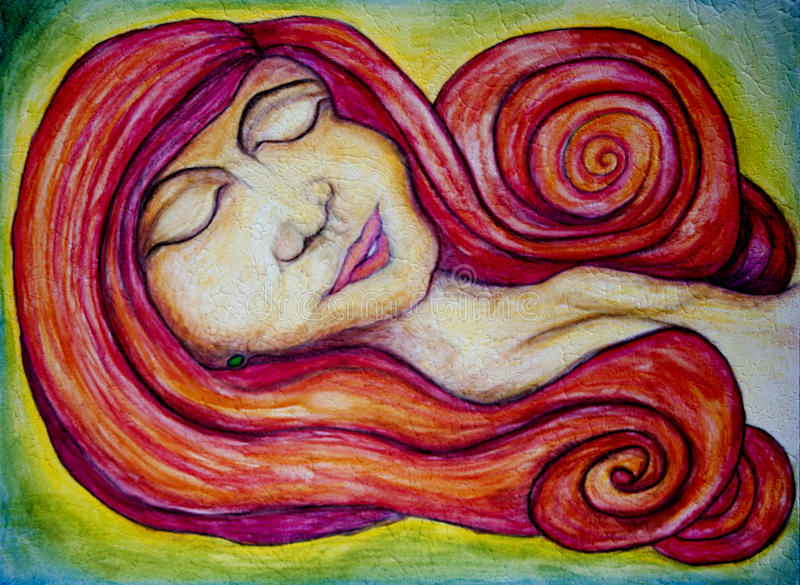 Red headed woman. Abstract art made with water color pencils of a red headed woman or lady in a lying down position. This image can also be rotated to be vector illustration