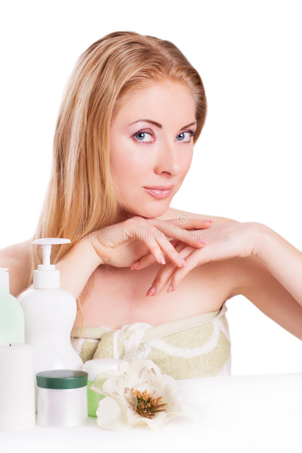 Download Red-headed Woman With Skincare And Nail Products Stock Image - Image: 30397903