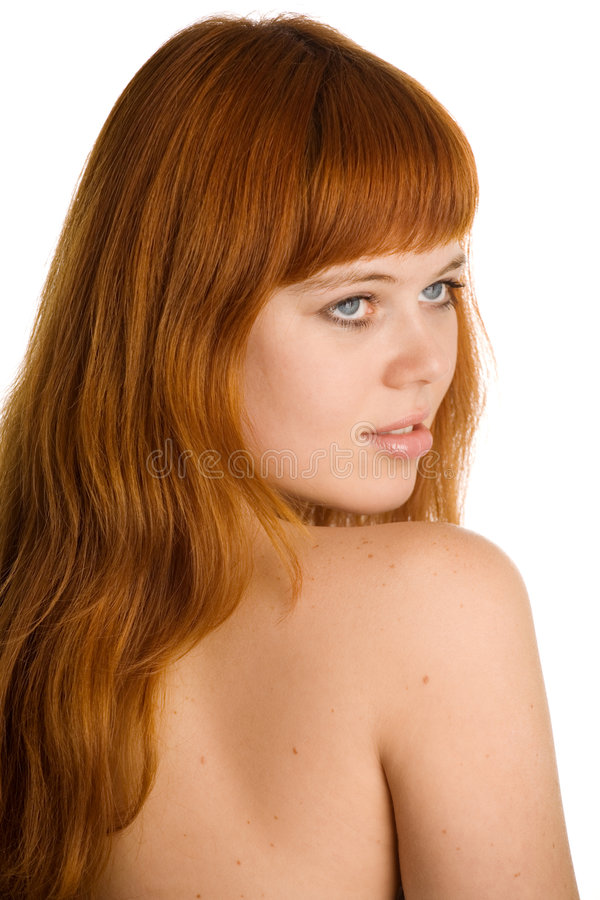 Red headed young woman royalty free stock photos
