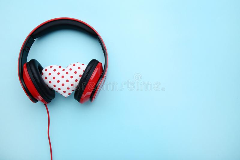 Headphones with fabric heart stock photography