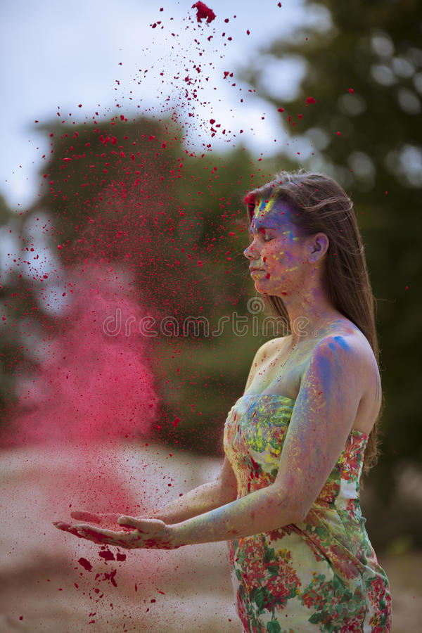Red healing energy. In nature stock image