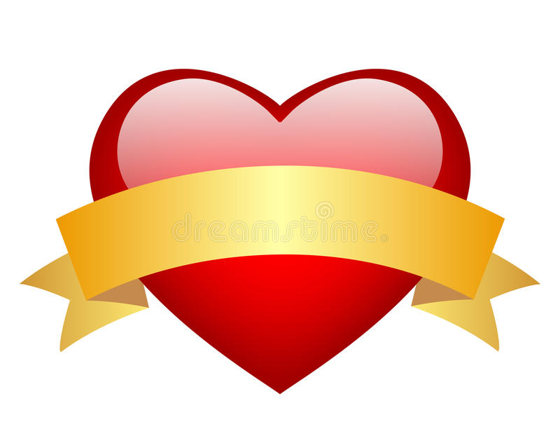Download Red heart stock vector. Image of gold, background, glossy - 28154101