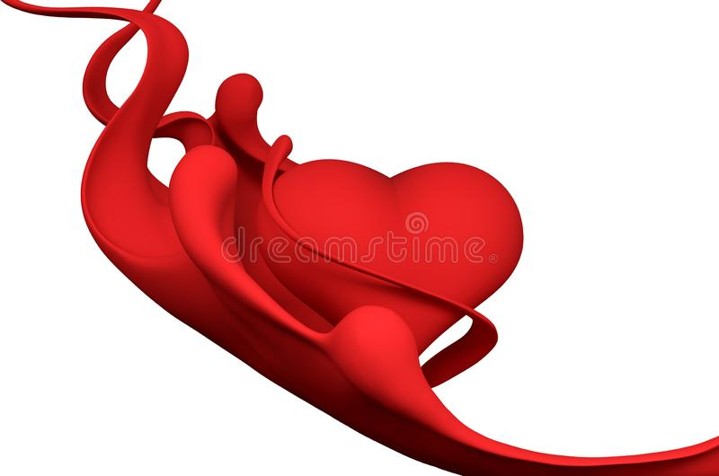 Red heart abstract background 3d rendering. Red heart abstract background isolated 3d rendering vector illustration