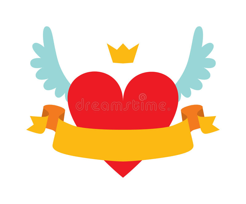 Red heart abstract with crown, wings and yellow ribbon for your text flat vector illustration. vector illustration