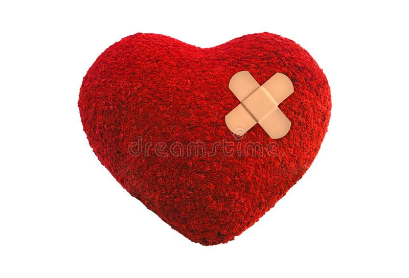 Red heart with adhesive plaster medicine isolated on white background. stock photography