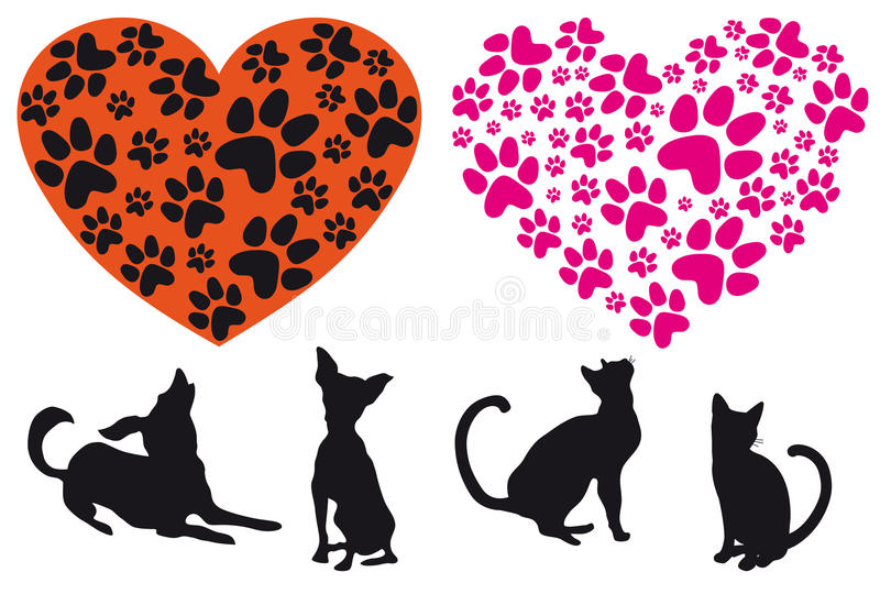 Download Red Heart With Animal Foodprint Pattern, Vector Stock Vector - Illustration: 23937179