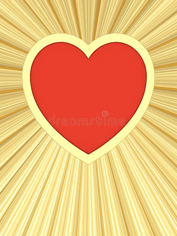 Download Red Heart On Background Of Golden Rays Stock Photography - Image: 26284732