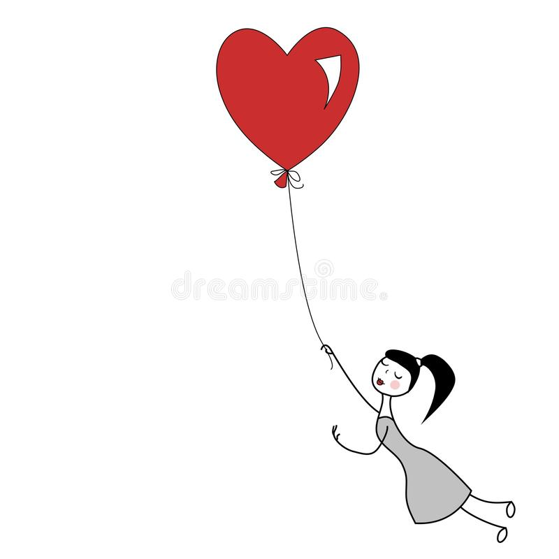 Red heart balloon. Girl holding the string of flying red heart balloon vector illustration