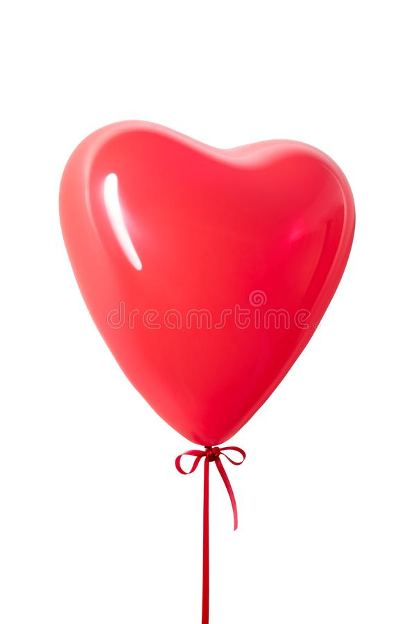 Red heart balloon isolated stock photo