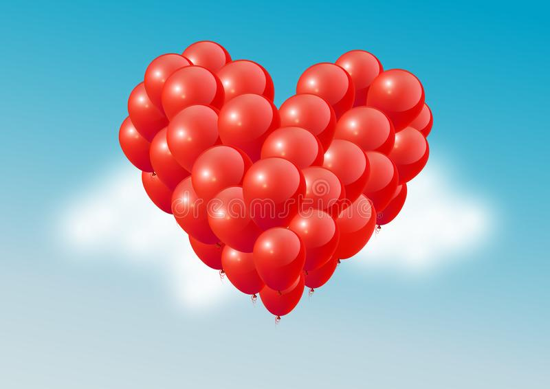 Red heart balloons in blue sky, Happy Valentines Day, royalty free illustration