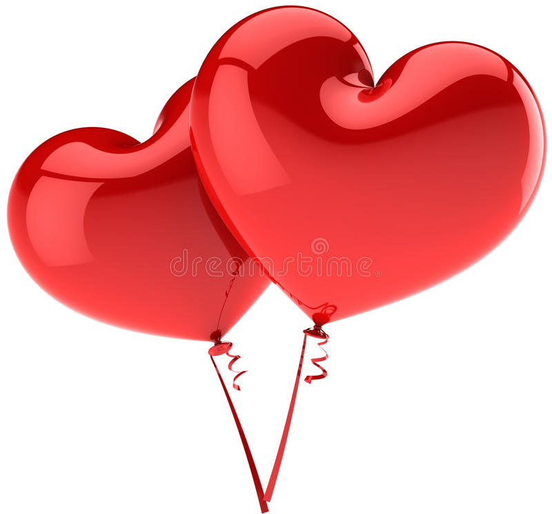 Red heart balloons couple in Love