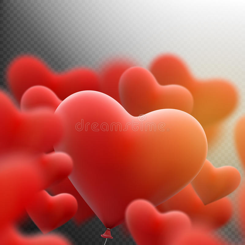 Red heart balloons flying bunch. EPS 10 stock illustration