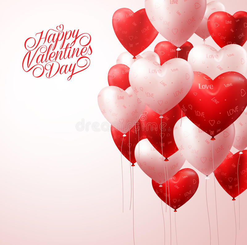 Red Heart Balloons Flying in Light for Valentines Background vector illustration