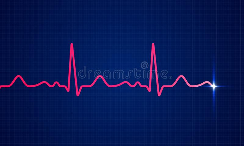 Heart cardiogram pulse vector screen background royalty free illustration