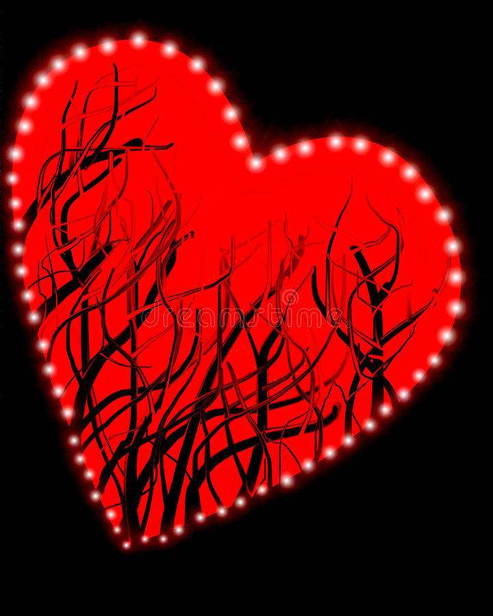 Red Heart On Black Background Stock Photo
