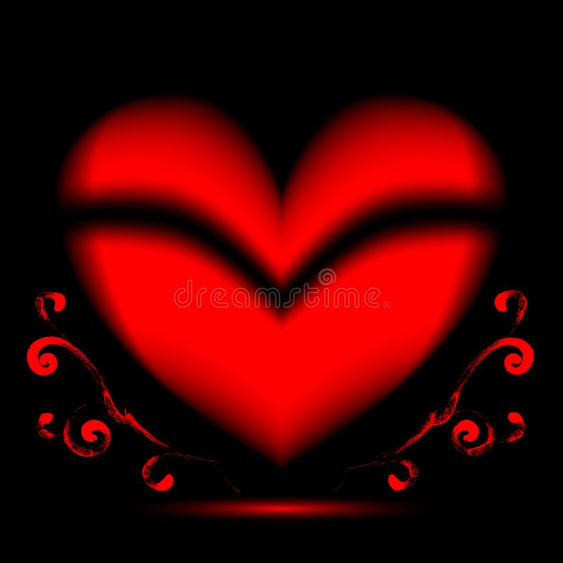 Red heart on a black background and growing curlicues stock photos