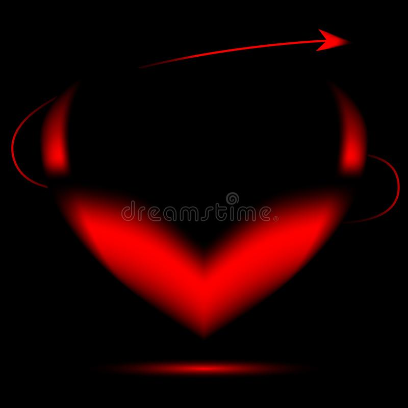 Red heart on a black background with horns royalty free stock image