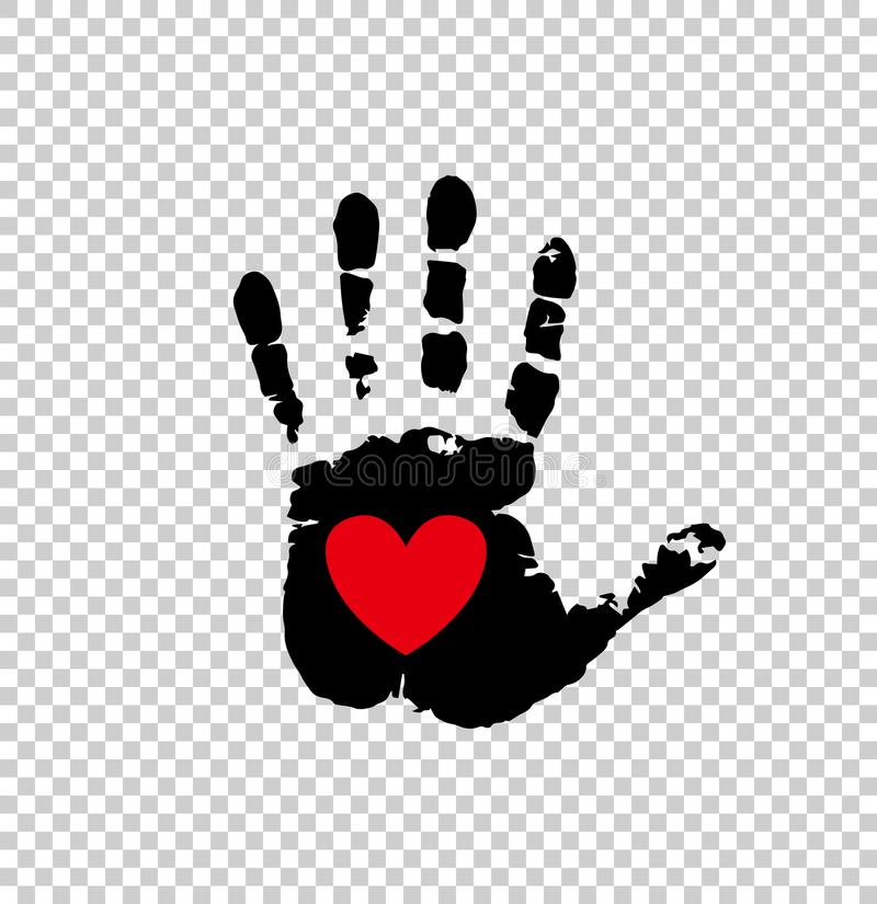 Red heart in black palm print on transparent. Black silhouette of humans hand print with heart symbol in open palm on transparent background. Vector illustration vector illustration