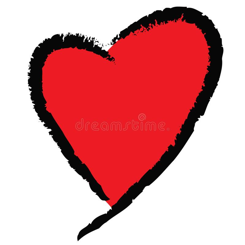 Red Heart with Black Scribble Outline vector illustration