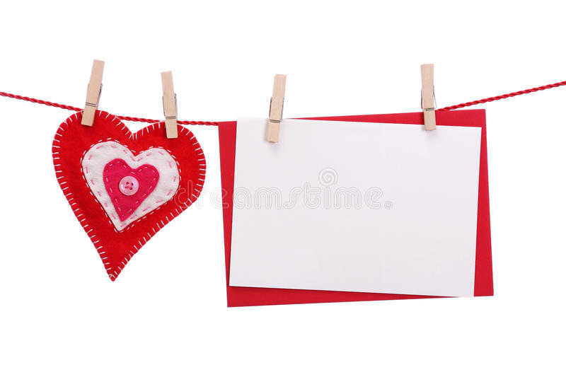 Red Heart And Blank Card Royalty Free Stock Images